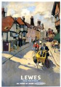 Lewes, County Town of Sussex. Vintage BR Travel poster by Terence Cuneo. 1955